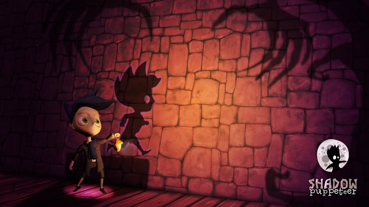 The 3D boy and his 2D shadow being hunted by the Shadow Puppeteer